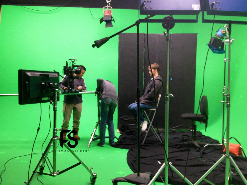Setting markers for a green screen training video shoot