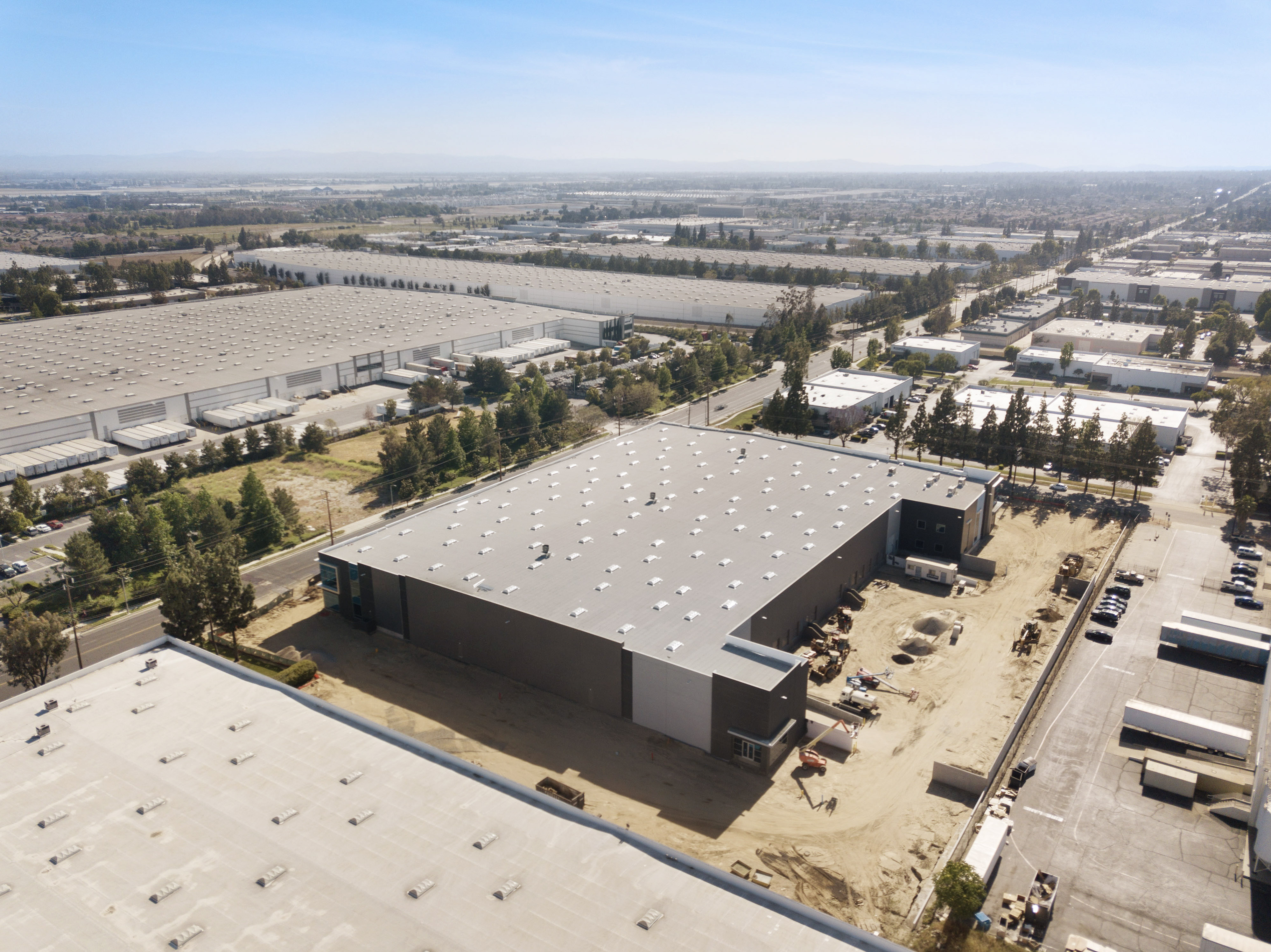 drone photography of truck court